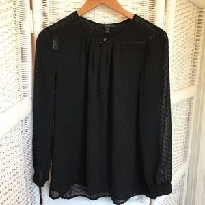J. Crew Tops - J Crew Swiss Dot blouse - Black - 6